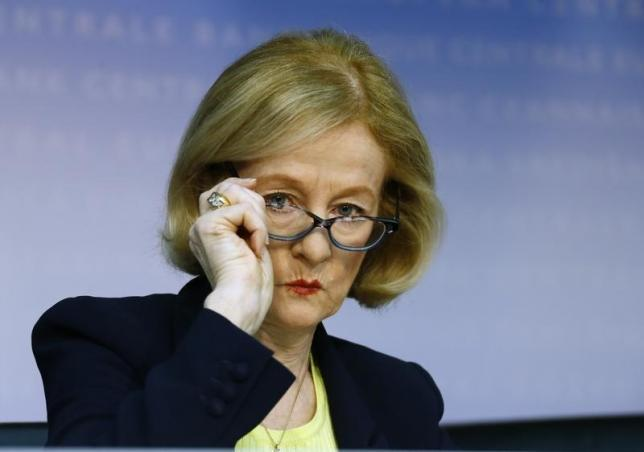 Chair of the Supervisory Board of the single supervisory mechanism Nouy attends news conference at ECB in Frankfurt