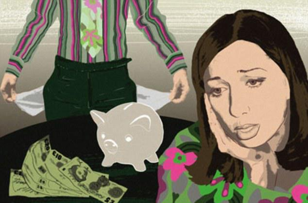 stock Worried woman with piggy bank and man with empty pockets. Image shot 2009. Exact date unknown.