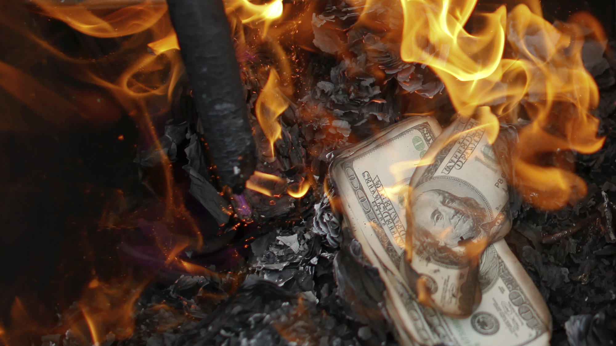 stock burning-money dollar