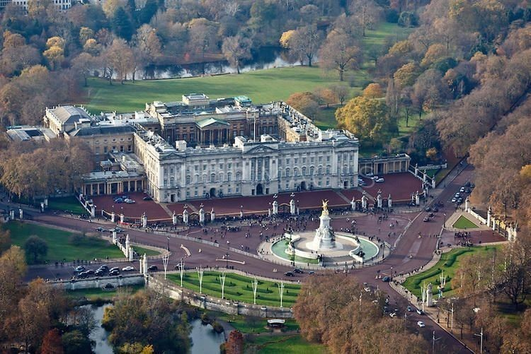 Aerial view of Buckingham Palace in London.