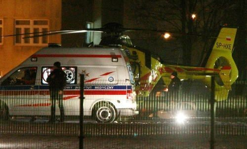 An Air Rescue Helicopter lands at the Military Medical Institute with Polish Prime Minister Beata Szydlo in Warsaw, Poland, Saturday, Feb. 11, 2017, after her a car accident in Oswiecim on Friday in the evening.Szydlo suffered minor injuries Friday after a small Fiat hit her car, officials and Polish news reports said. Her spokesman said she was being examined in a hospital but wasn't badly hurt. (AP Photo/Czarek Sokolowski)