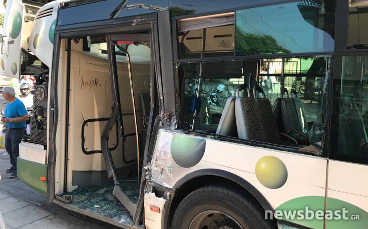 λεωφορειο προαστιακος συγκρουση ατυχμα λιοσιων